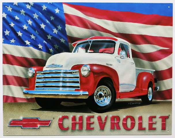 Chevrolet Pickup Truck Tin Metal Sign 1950 Chevy American