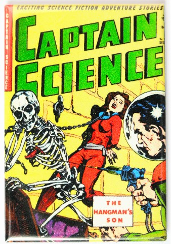 Captain Science Comic Book Fridge Magnet Sci Fi Pulp Fiction Space Skeleton Monster