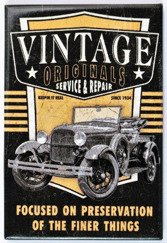 Vintage Originals Service And Repair Fridge Magnet Hot Rod Car Show Mechanic Garage
