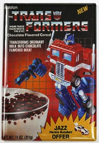 Transformers Cereal Fridge Magnet Jazz Optimus Prime Robot 80 S Cartoon