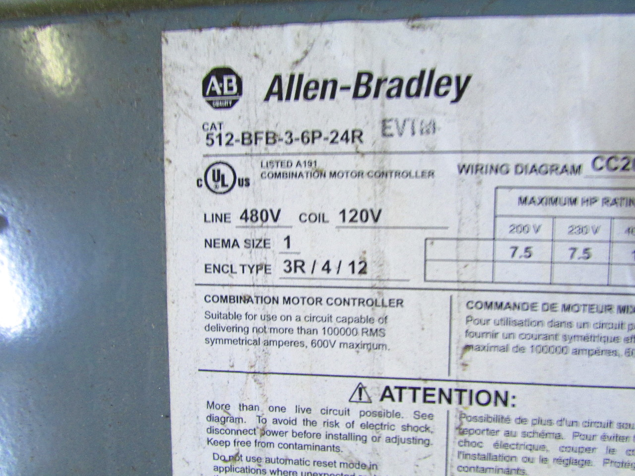 Emi Wiring Diagram 18 Images Diagrams Mini Split F750 Weick Sd07950 Allen Bradley 512 Bfb 3 6p 24r Nema Combination Starter Disconnect Type 1 480
