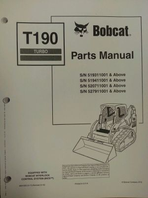Bobcat T190 Turbo Skid Steer Parts Manual Book 6901352