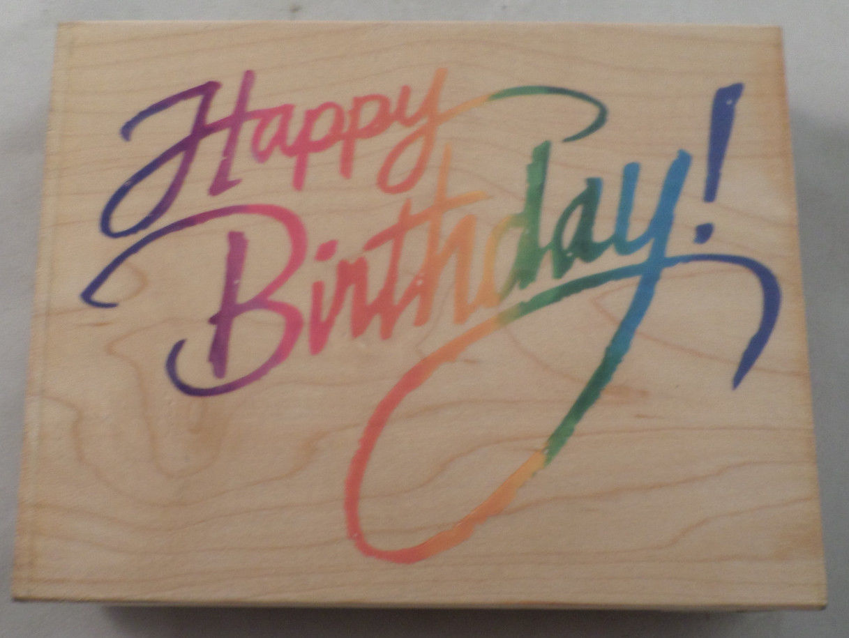 Stampendous Xl Happy Birthday Cursive Writing Quote Wood