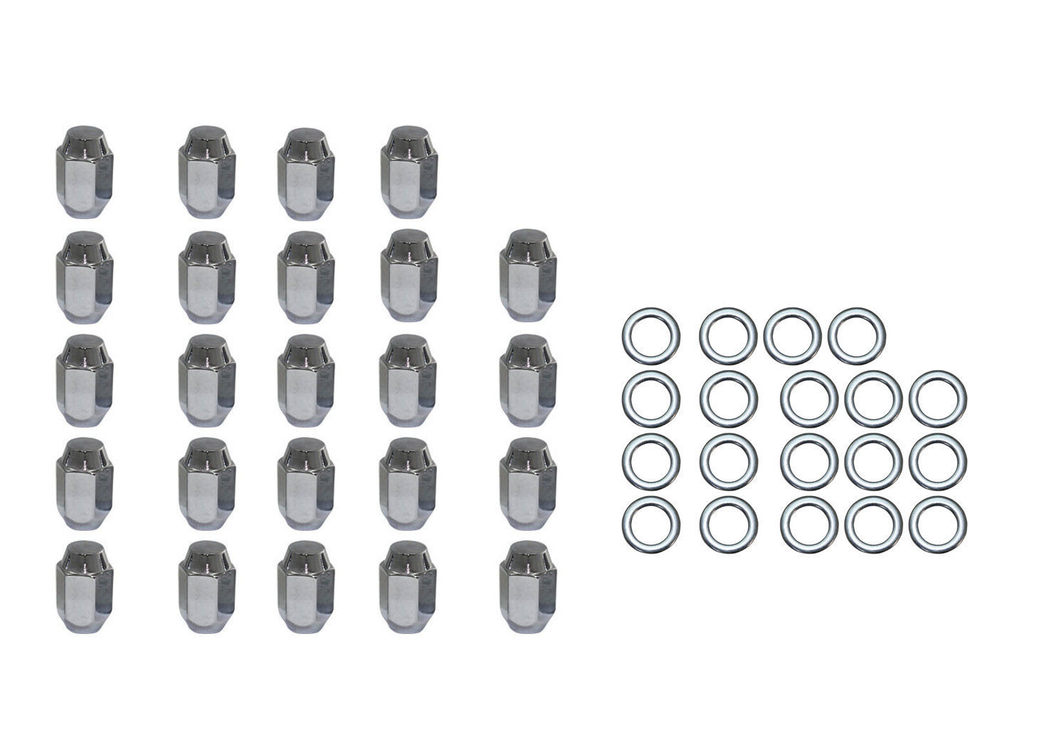 24 Pc Set Chrome Steel Acorn Shank Lug Nuts 7 16 X 20