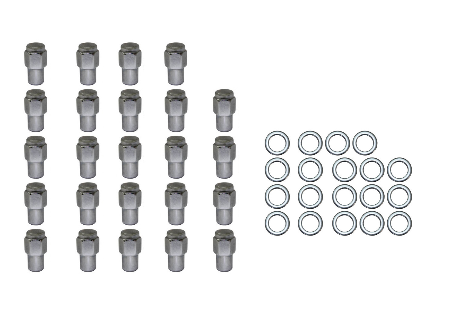 24 Pc Set Chrome Steel Mag Shank Lug Nuts 12mm X 1 5 For