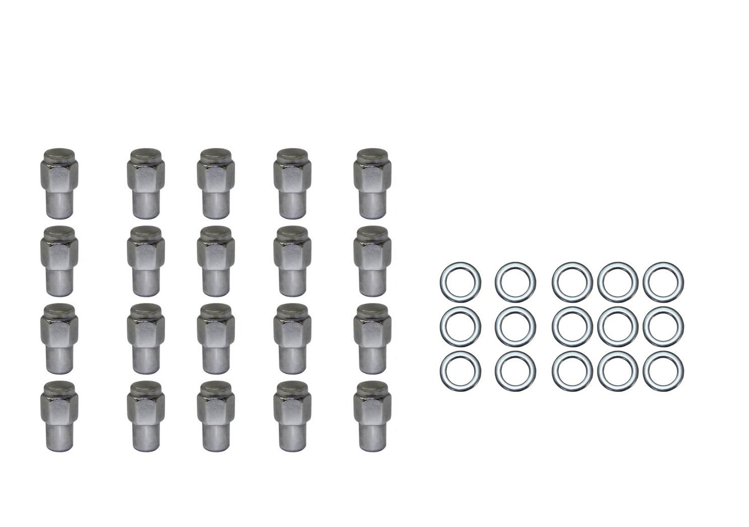 20 Pc Set Chrome Steel Mag Shank Lug Nuts 12mm X 1 25 For