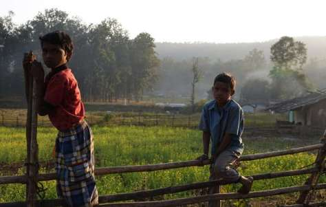 Baiga children. Their village was notified with eviction. Achanakmar Tiger Reserve.