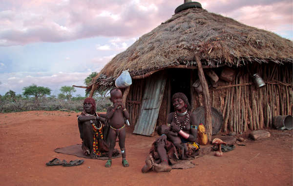Hamar family outside their home in Ethiopia's Lower Omo Valley