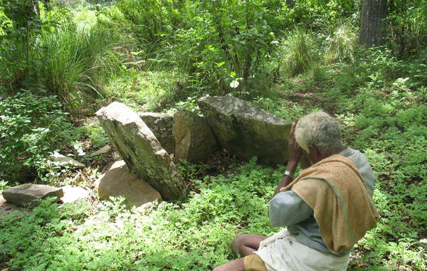 Un Soliga rend un culte à l'un des 487 sites sacrés de la réserve deBiligirangan.