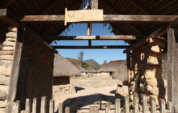 'The entrance of non-Indians is prohibited', sign at an Arhuaco village
