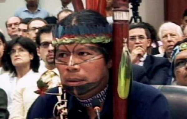 Sarayaku President José Gualinga speaks before the Inter-American Court