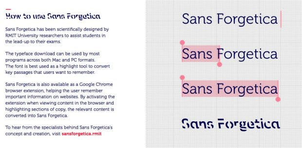 Free Font: For Sans Forgetica, heavy readability is a feature, not a bug. (Graphic: RMIT University)