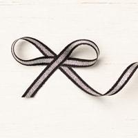 """Black/Silver 1/4"""" (6.4 Mm) Striped Metallic Ribbon"""