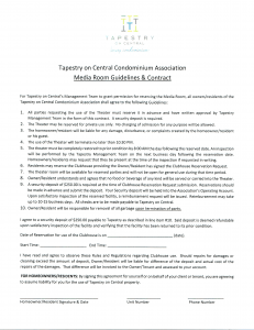 Theatre Room Reservation Agreement Form