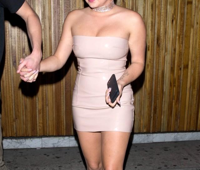 Ariel Winter Wears Nude Pvc Dress To The Nice Guy To Celebrate Levi Meadens Birthday Teen Vogue