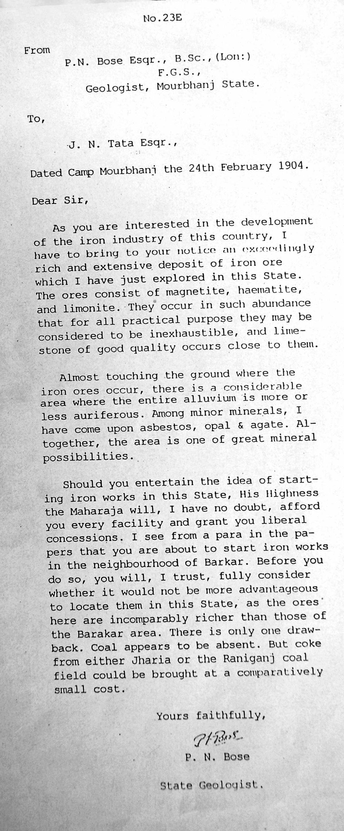 A copy of PN Bose's letter to JN Tata shared by Tata Steel