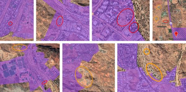 Town camps circled orange (Hoppy's Camp, Charles Creek, Karnte, Little Sisters and Hidden Valley) have satellite internet, which advocates say is not suitable for large numbers of users. Town camps circled red (Ilparpa, Abbott's camp, Morris Soak, Palmer's camp, Mt Nancy, Old Timer's and Whitegate)have not been connected to NBN, despite some showing on the map as having fibre to the node (FTTN) available.Anthepe town camp (circled orange at top of top right image) has satellite available but no active connection.