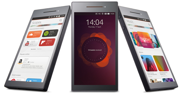 Picture from Ubuntu site showing 3 views of Ubuntu Touch