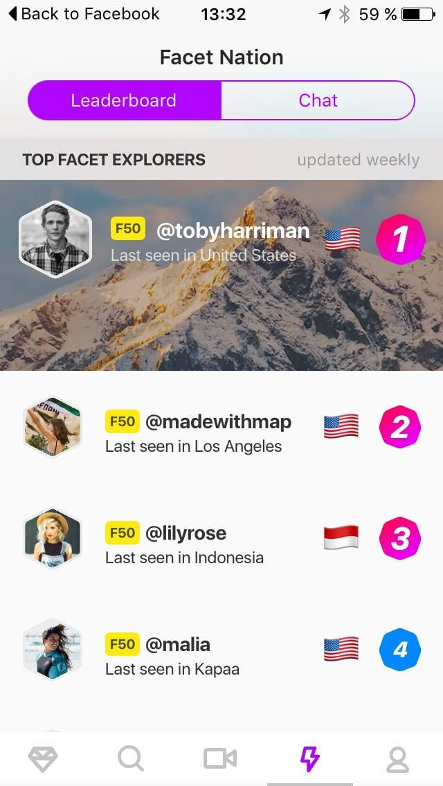 Leaderboard screen on iOS by Facebook from UIGarage