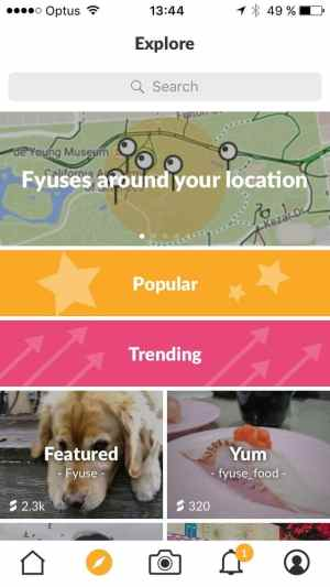 Explore screen on iOS by Fyuse from UIGarage