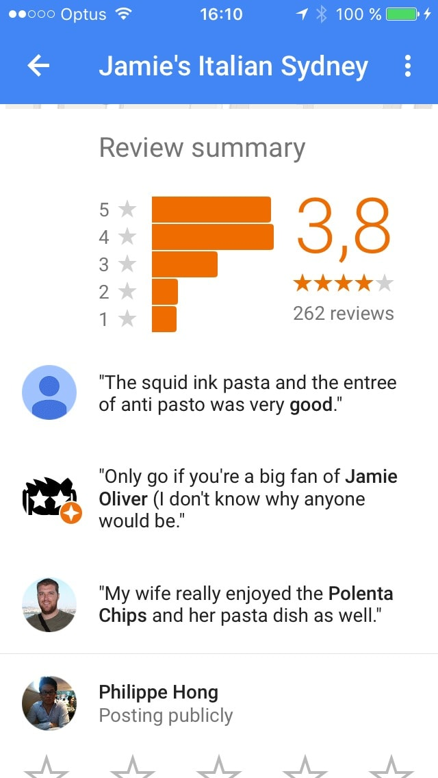 Reviews page on iOS by Google Maps from UIGarage