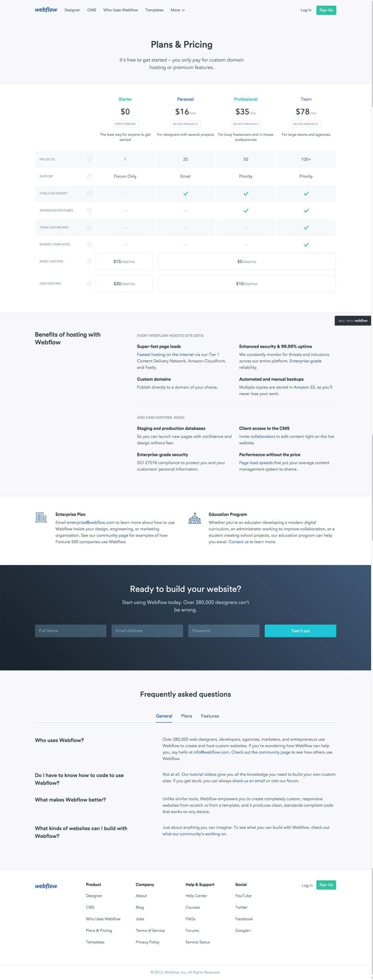 Pricing page by Webflow from UIGarage