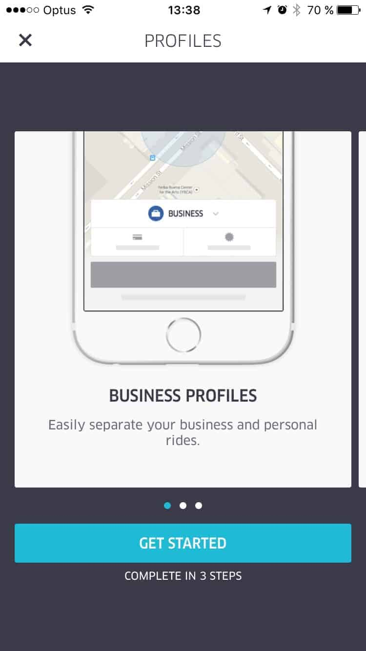 Onboarding for Business by Uber from UIGarage