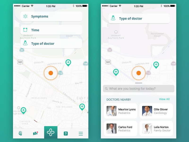 Map Navigation Inspiration by Health Care from UIGarage