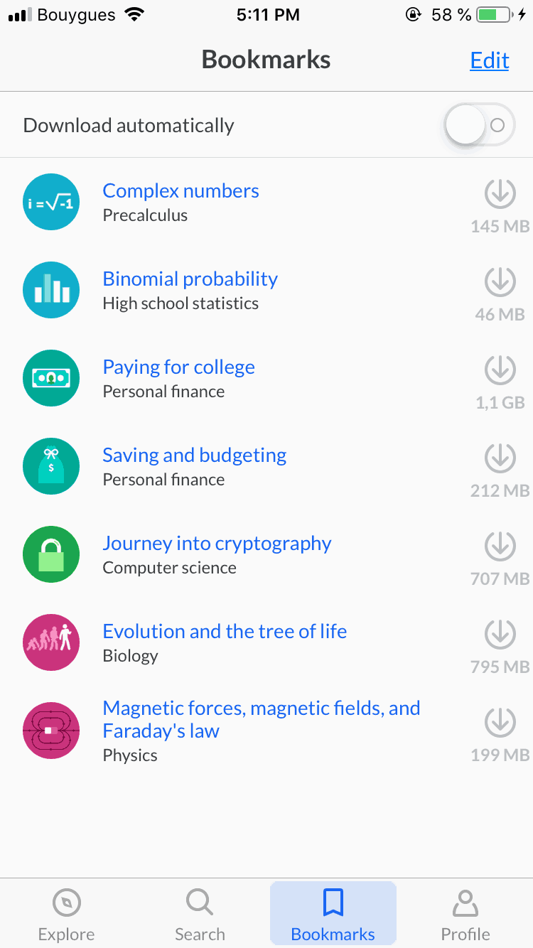 Bookmarks on iOS by KhanAcademy from UIGarage