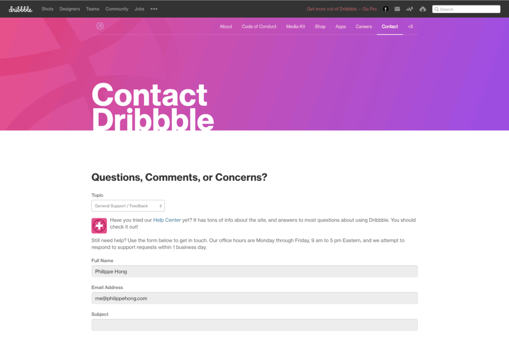 Contact Page by Dribbble from UIGarage