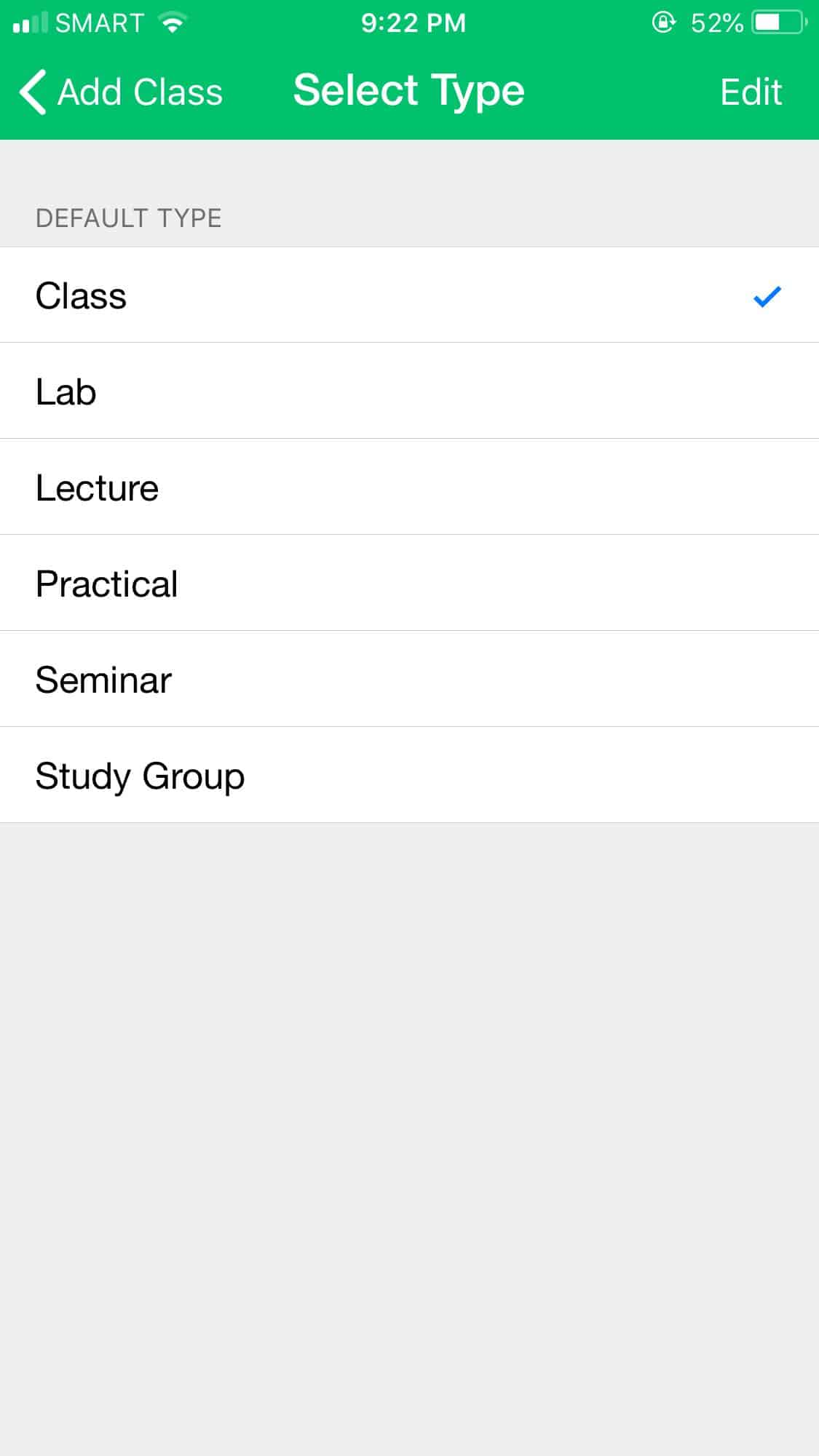 Select Type on iOS by Pocket Schedule from UIGarage