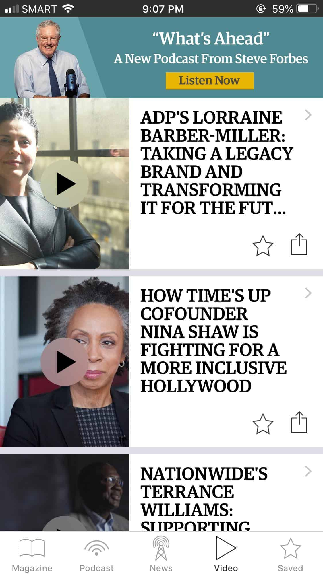 Video Page on iOS by Forbes from UIGarage