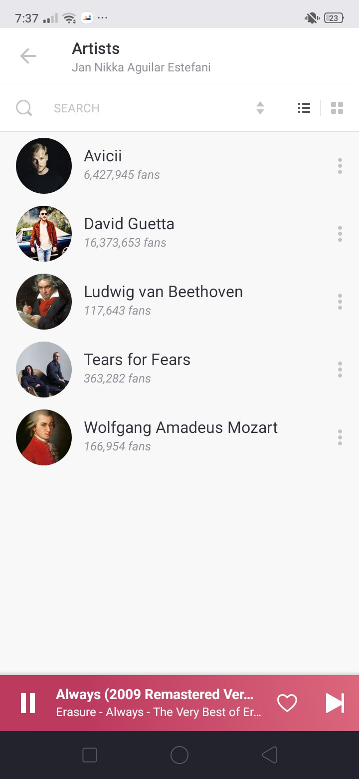 Artists on Android by Deezer from UIGarage