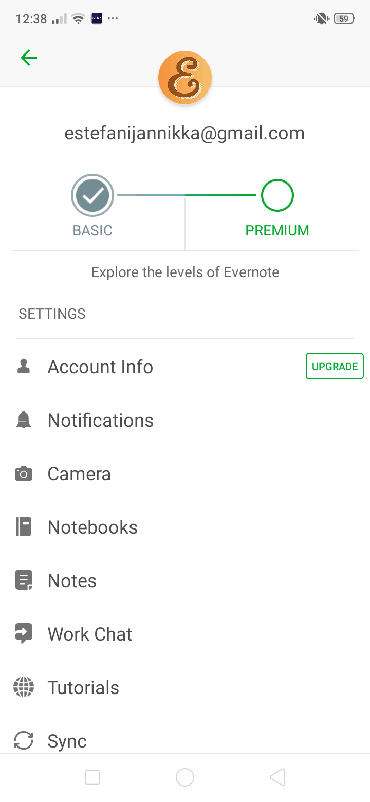 Settings on Android by Evernote from UIGarage