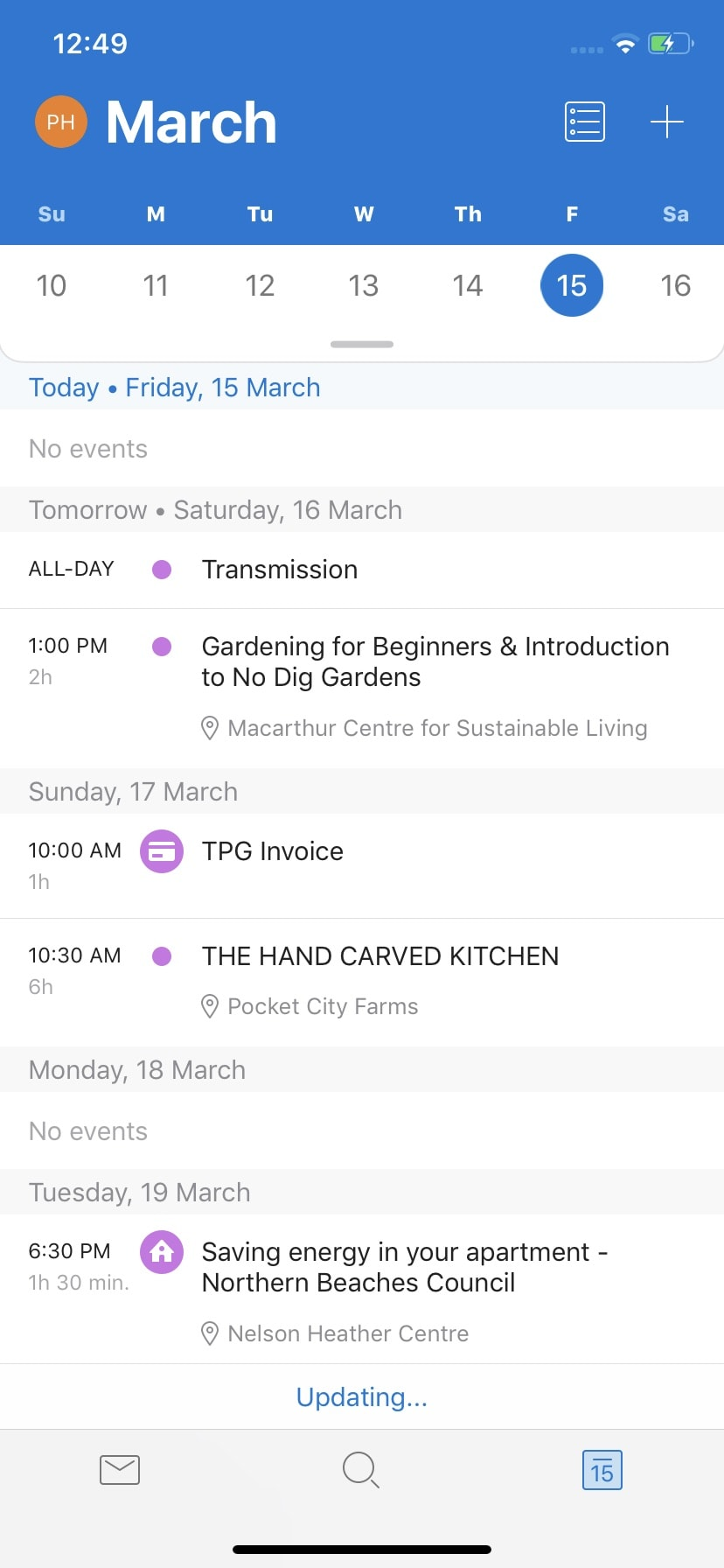 Calendar on iOS by Outlook from UIGarage
