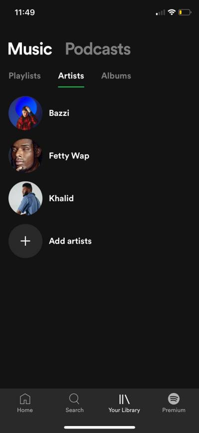 Artists on iOS by Spotify from UIGarage