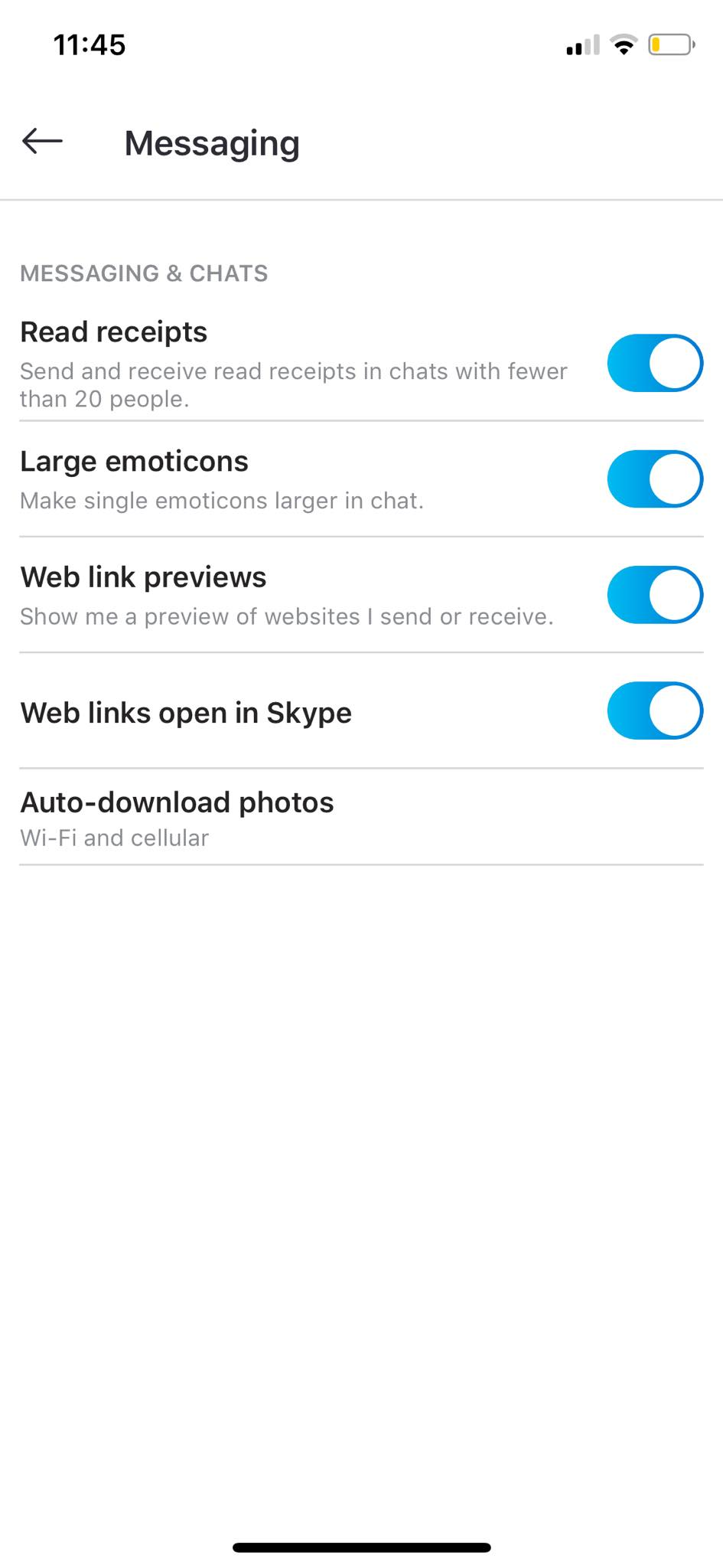Messaging Settings on iOS by Skype from UIGarage