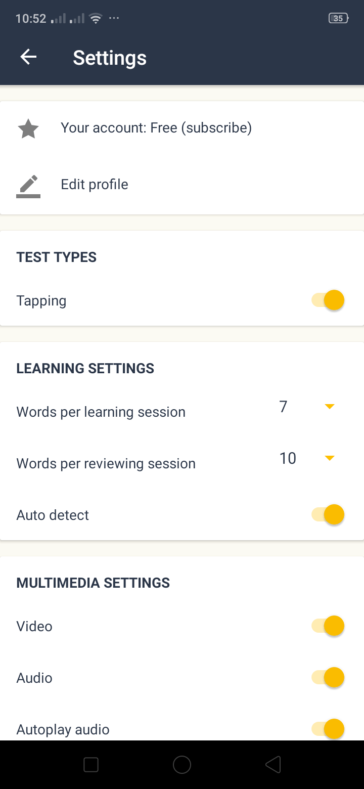 Settings on Android by Memrise from UIGarage