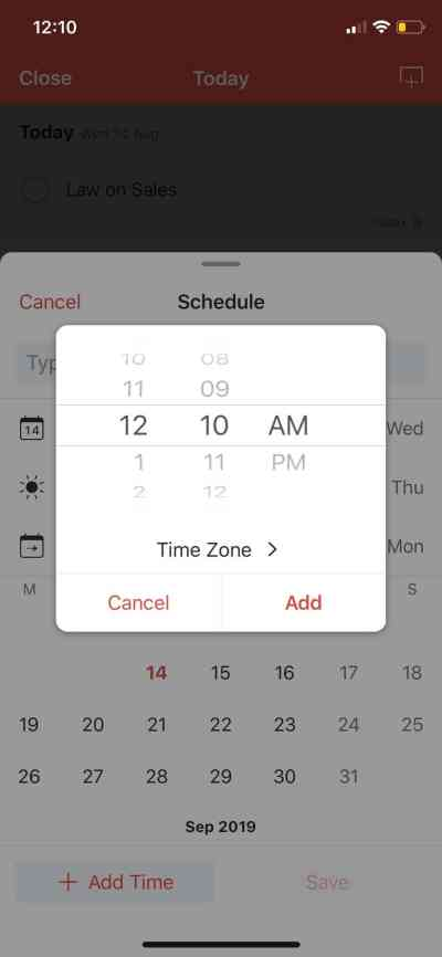Time Picker on iOS by Todoist from UIGarage