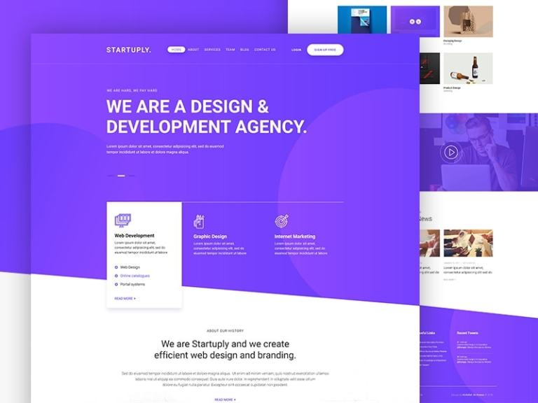 Startuply Agency Landing Page from UIGarage
