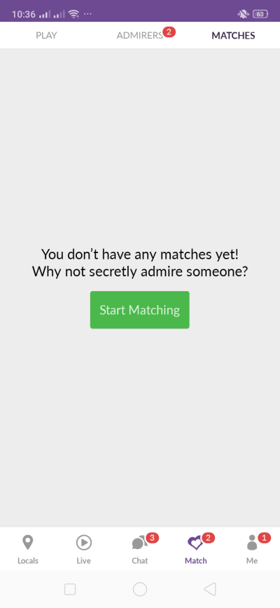Matches on Android by Meet Me from UIGarage