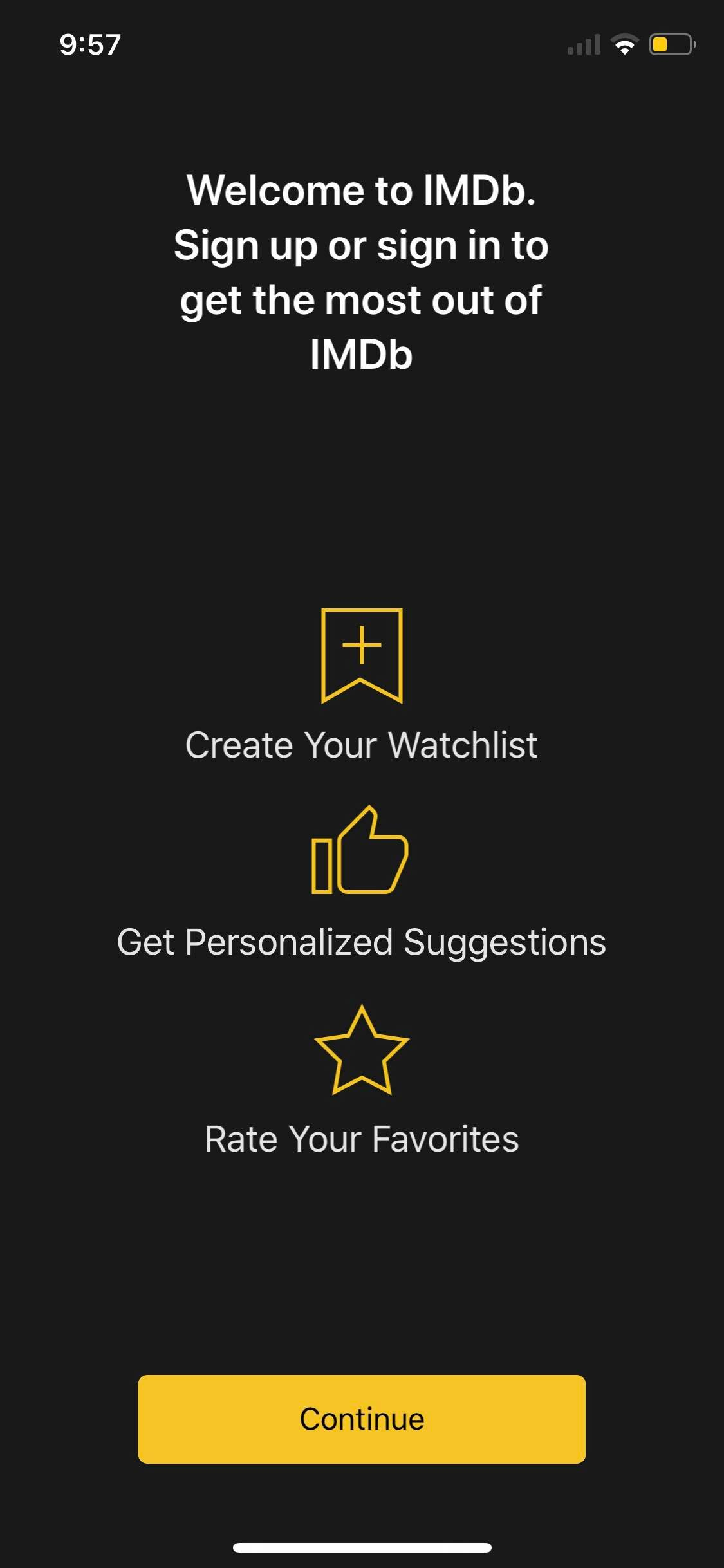 Welcome on iOS by IMDb from UIGarage
