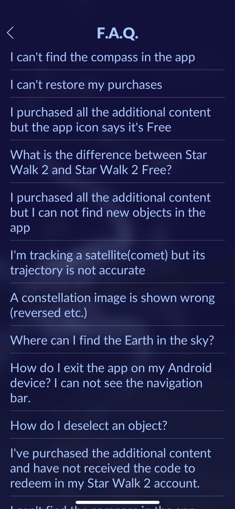 FAQ on iOS by Star Walk from UIGarage