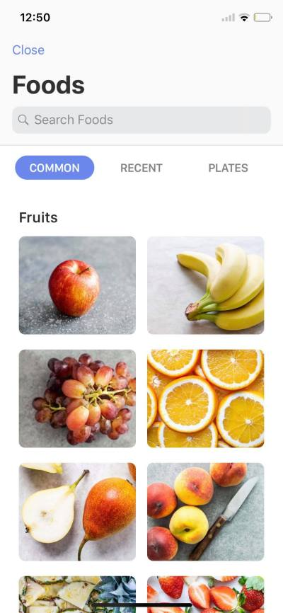 Foods on iOS by Calory from UIGarage