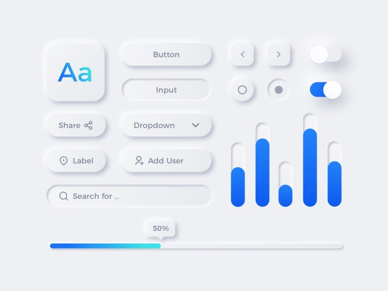Neumorphism UI Elements for Sketch from UIGarage