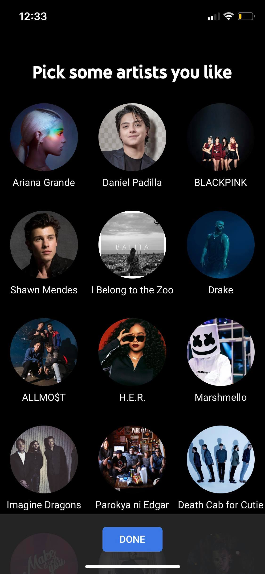 Pick Artist on iOS by Youtube Music from UIGarage