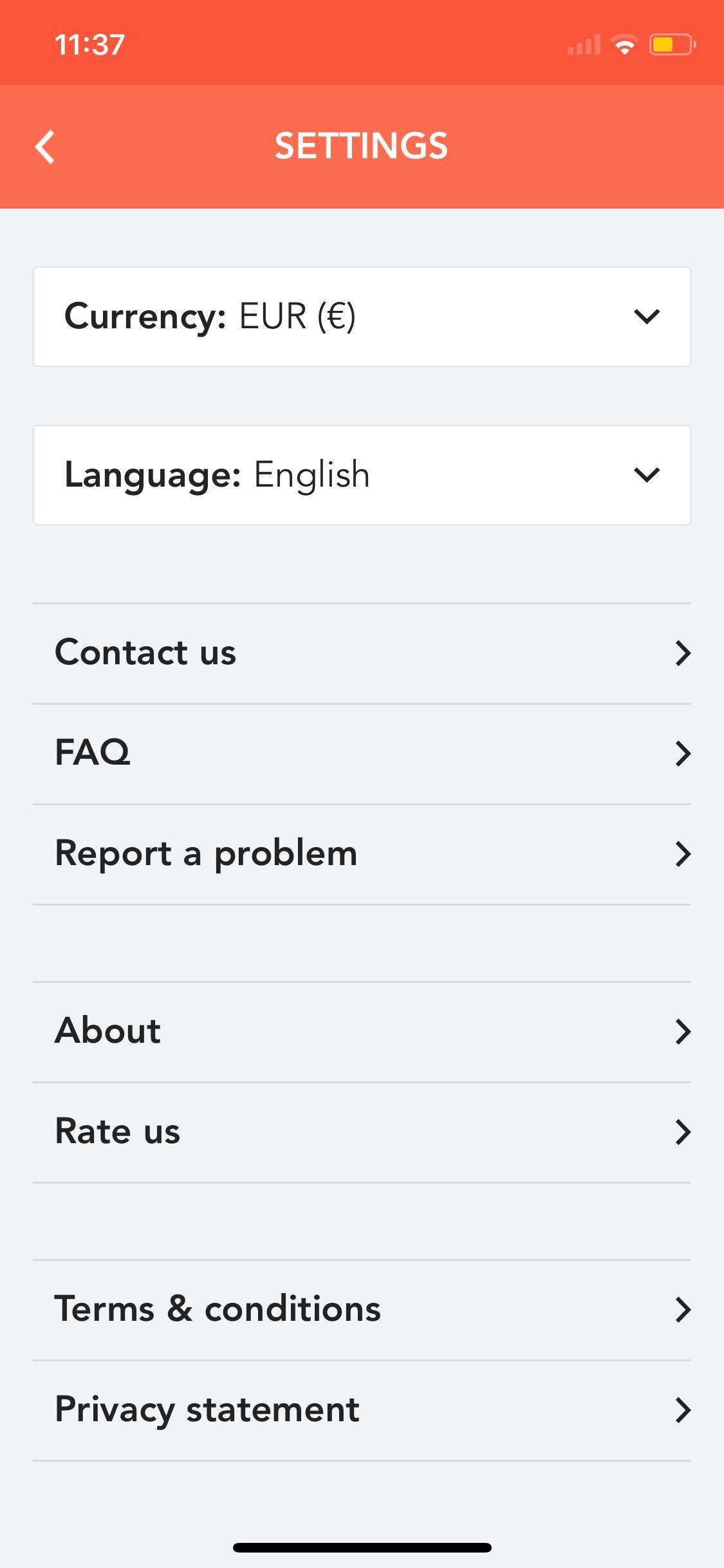 Settings on iOS by Musement from UIGarage