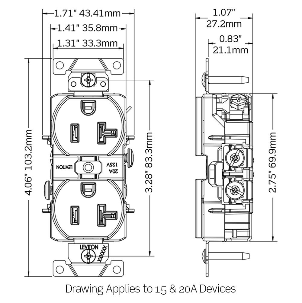 Leviton R Heavy Duty Smooth Face Duplex Receptacle
