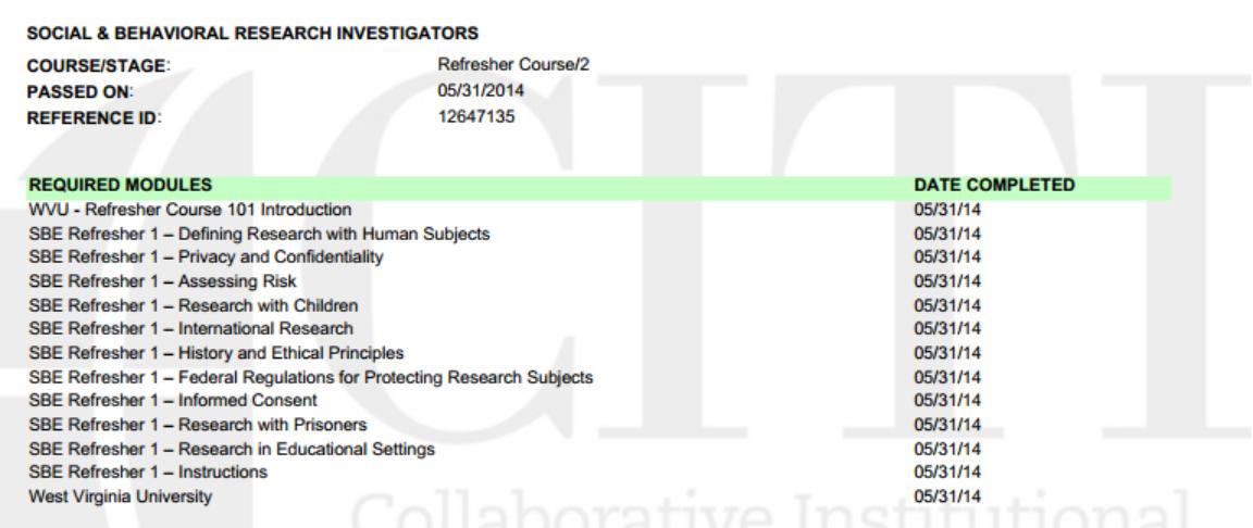 CITI Researcher Certification
