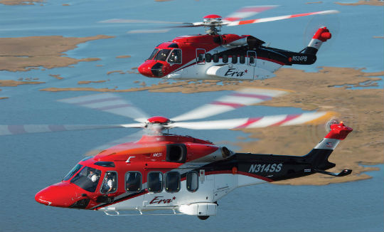 The AW189 (foreground) and the Sikorsky S-92, which entered service in October 2015, illustrate Era's commitment to providing customers with alternative solutions to their transportation needs. Dan Megna Photo
